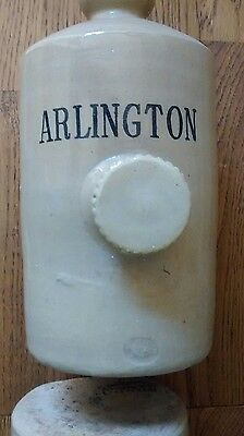 vintage stoneware Hot water bottle advertising Arlington