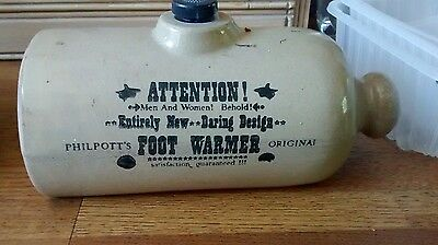 vintage stoneware Hot water bottle advertising Philpotts original foot warmer
