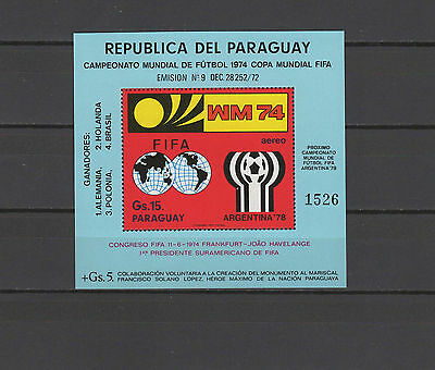 Football Soccer World Cup 1974 Paraguay s/s MNH
