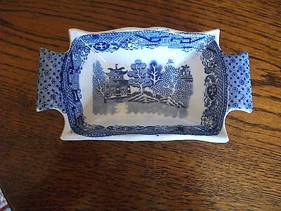 "Antique Early 19Th Century Blue And White Willow Pickle Dish 6"" Long"