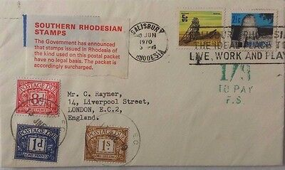 Rhodesia 1970 Cover With Illegal Stamps To England + 1/9 Postage Dues Stamps
