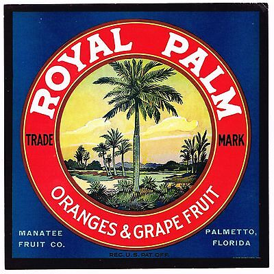Crate Label Vintage Florida Royal Palm Palmetto Manatee Original Rare 1930S
