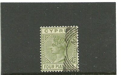 Cyprus,1882-86  4pi pale olive-green,fine used