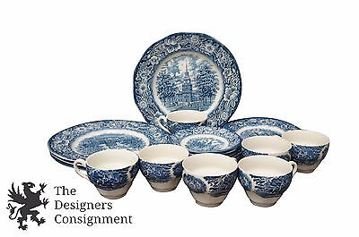23 Pc Liberty Blue Historic Colonial Scenes Staffordshire Ironware Blue White