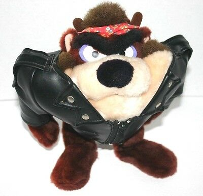 "Looney Toons ""Taz"" Tasmanian Devil Biker 1990 Warner Bros Stuffed Animal Plush"