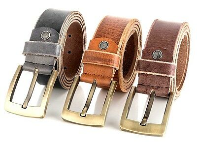 Leather Mens Belts Real New Genuine Buckle Trouser Sizes Brown Black Tan Jeans .