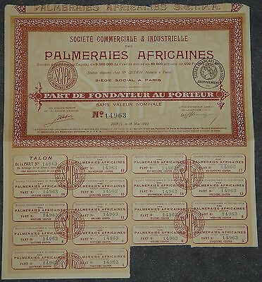 Societe Commerciale & Industrielle des Palmeraies Africaines 1920