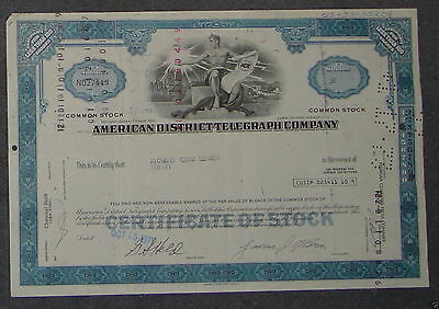American District Telegraph Company 1971 30 Shares