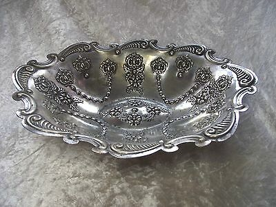 Vintage Art nouveau Silver plated Fruit Bowl - Repousse Embossed