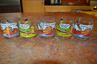 5 Garfield Odie 1978 Glass Coffee Mug McDonalds Jim Davis