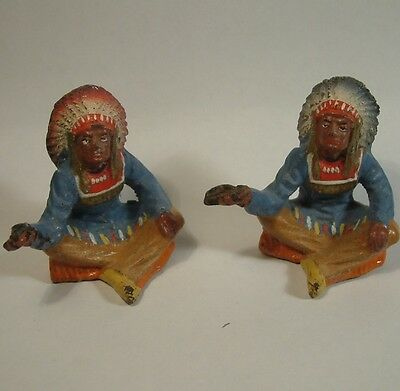 TWO c1930 ELASTOLIN Gemany INDIAN CHIEF FIGURES WITH PEACE PIPE