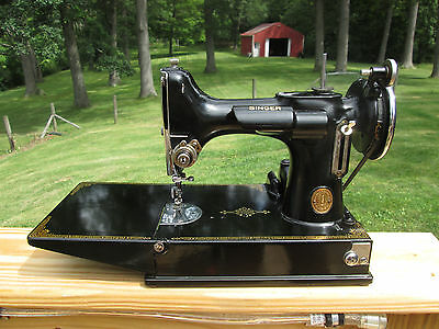 """Vintage Singer Featherweight 221 Scroll Face Sewing Machine. """" Serviced """""""