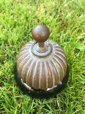 VICTORIAN OLD BRASS DOLLY LIGHT SWITCH CERAMIC EDWARDIAN JELLY MOULD SHAPE 1900s