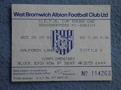 1981-2 West Brom v Grasshoppers UEFA Cup Ticket