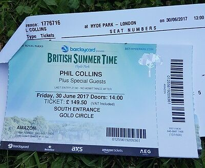 Phil Collins at Hyde Park Gold Circle tickets