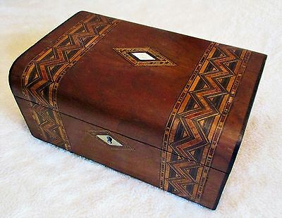 Victorian Walnut Veneer Sewing/jewellery Box,inlay Bands,pink Lined Interior.