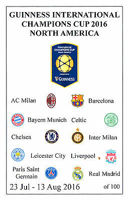 Chelsea, Liverpool, Leicester City, Celtic International Cup 2016 programme
