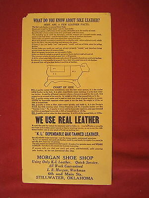 Vintage Ad For Morgan Shoe Shop Stillwater Oklahoma Ok We Use Real Leather
