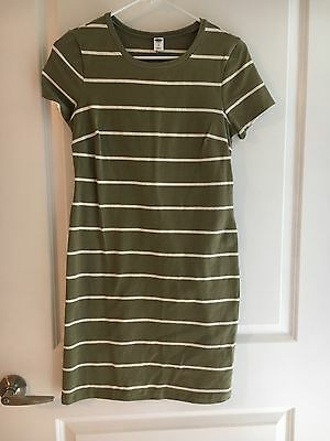 Old Navy Olive/white Stripped Cotton Dress Size SP Small Petite EUC