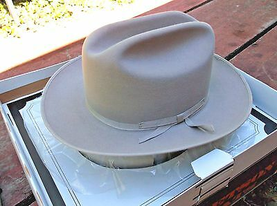 Pristine Vtg Stetson Open Road Western Hat 7 1/8 Long Oval C/w Org Box 4X Beaver