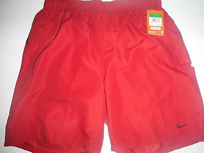 NWT NEW NIKE Mens swim BOARD shorts suit trunks RED Black LARGE L W32 Water $34