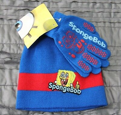 Spongebob Nickelodeon AGB Accessories Magic Stretch Knit Gloves and Beanie