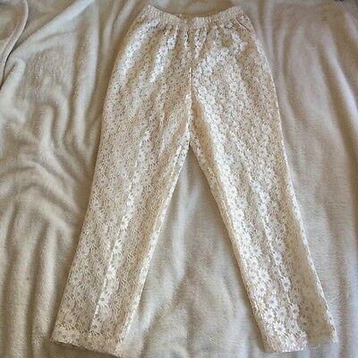 Womens Retro / Vintage Floral Lace Straight Leg Trousers 10 🌼
