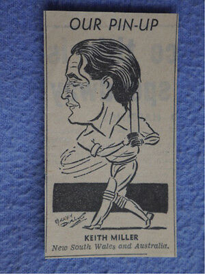 Keith Miller - New South Wales & Australia. 1950's paper caricature