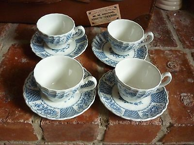 Myott 'Melody' Blue 4 Cups And Saucers