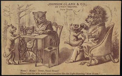 Advertising PPC Johnson, Clarke & Co. New Home Sewing Machine - Lion Family