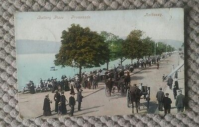Vintage Postcard Battery Place Promenade, Rothesay   Isle Of Bute, Scotland