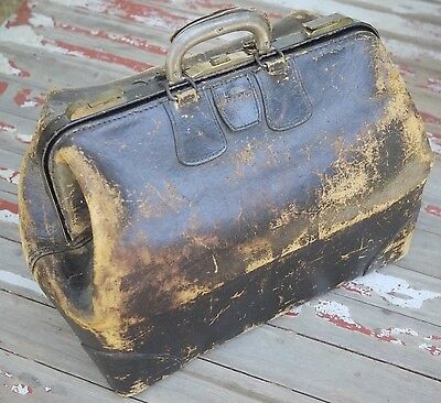 Vintage Leather Gladstone Bag Weekend Duffle Travel Doctor Gym Carryall Suitcase