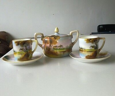 Exquisitely Hand Painted Vintage Noritake Demitasse Cups, Saucers And Sugar Bowl
