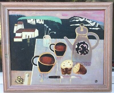 SCHOOL OF MARY FEDDEN STILL LIFE OIL PAINTING ON CANVAS signed F ???
