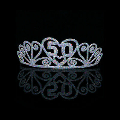 50th Happy Birthday Tiara Princess Crown Metal Silver Glitter Party 50 Years