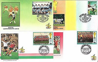 16 Fifa World Cup First day Covers Mexico 86 ~ St Vincent Argentina 7th May 1986