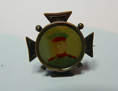 WW1 German Memorial sweetheart brooch tinted picture of soldier