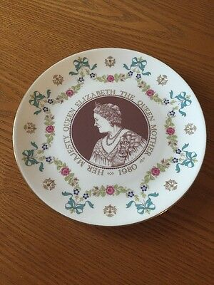 Royal Doulton Bone China Plate - Elizabeth the Queen Mother 1980 80th Birthday