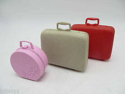 Vintage Lot of 3 Barbie Samsonsite Luggage & Make Up Case