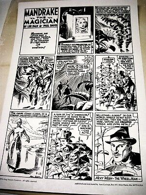 Lee Falk Phil Davis MANDRAKE THE MAGICIAN SUNDAY 9-13-37 Large poster Excl cond