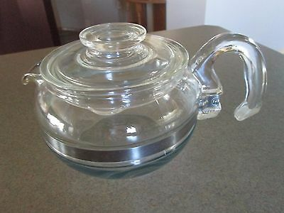 Vintage Pyrex Blue Tint Flameware 6 Cup Coffee Tea Pot # 8446B & Lid 7756C