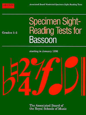ABRSM Specimen Sight-Reading Tests: Bassoon Grades 1-5 & Grades 6-8 Available