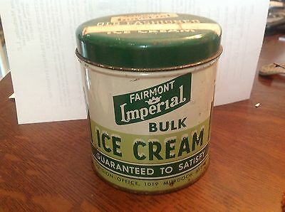 Fairmont Imperial Ice Cream Can lithograph  Parkersburg West Virginia vintage