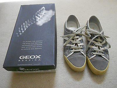 Ladies Geox Blue Suede And White Leather Lace Up Shoes Size 38.5