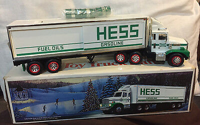 Vintage 1987 Hess Tracker Trailer Bank Truck with labled Drums, Mint Condition