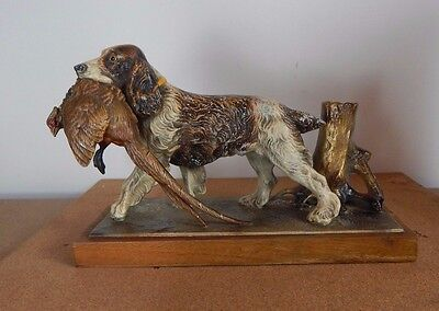 Large 1930s  cold painted Spelter Spaniel and Pheasant table strike