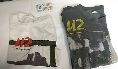 1984 U2 Vintage Two T shirts  with 1985 U2 Concert Ticket Authentic