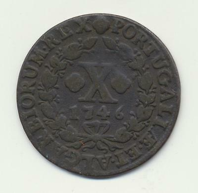 Portugal 10 Reis 1746 Copper Very high grade coin large scans
