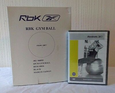 RBK Yoga Ball Pilates Gym Exercise Workout Fitness Weight Loss - Black NEW DVD