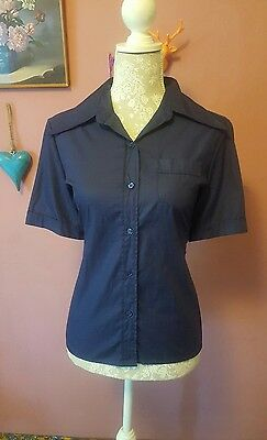 Vintage womens 70s navy blue short sleeve dagger collar shirt